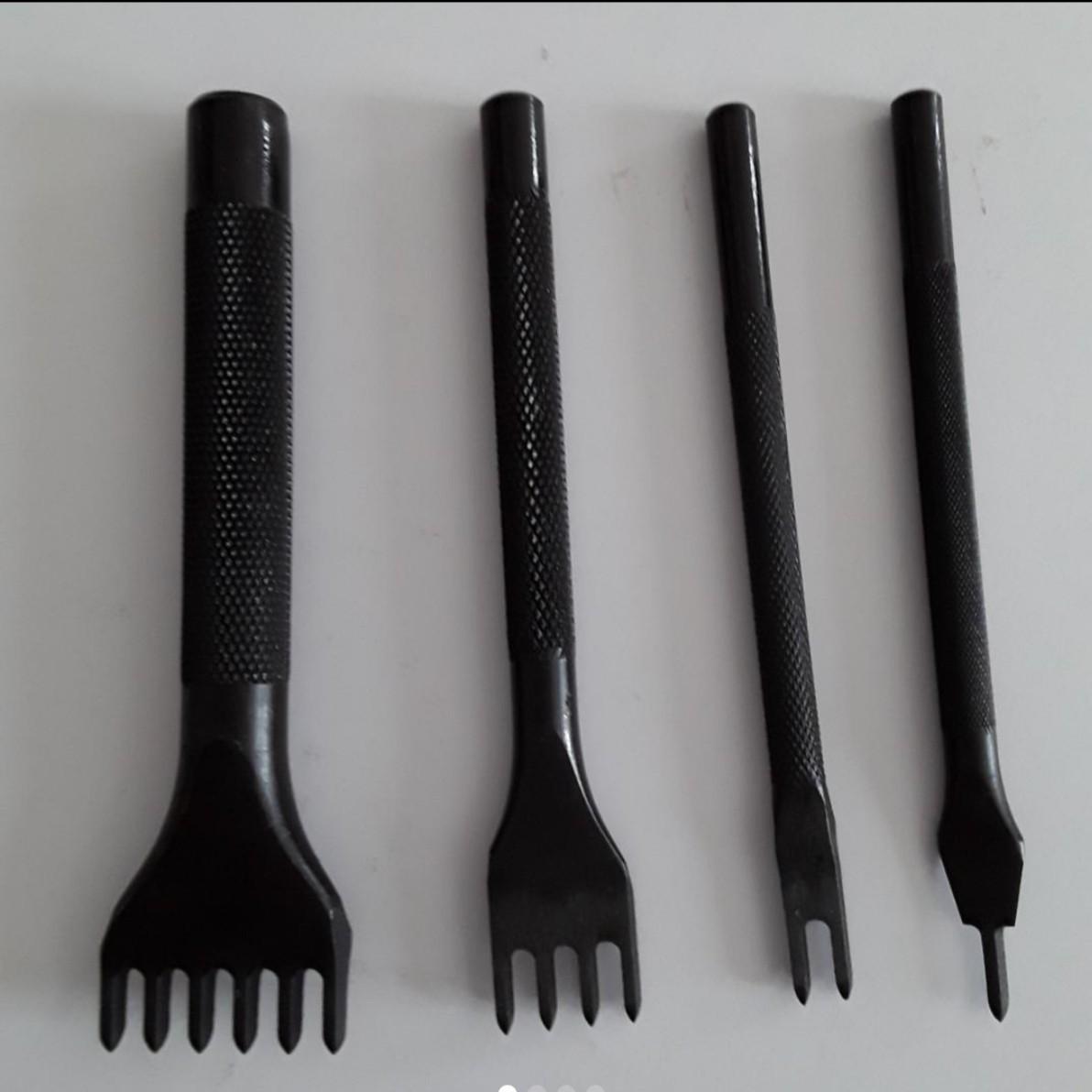 菱目打ち 3mm 4mm 5mm間隔、4本ずつ(1, 2, 4, 6本目)3セットレザークラフト道具