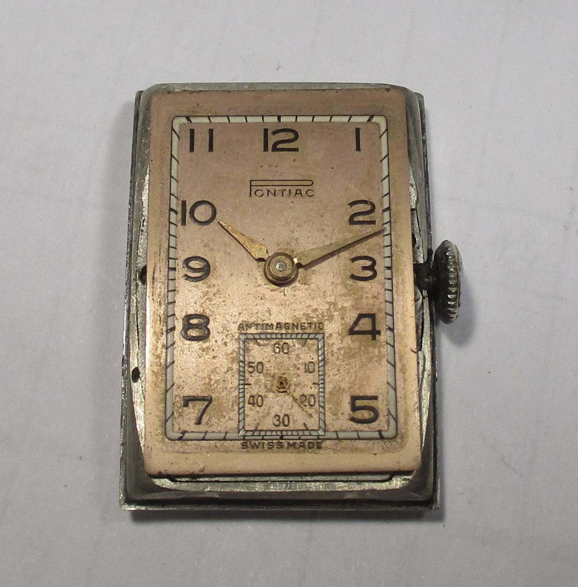 ☆ クロムケース Pontiac 30年代年代 紳士用腕時計_画像3