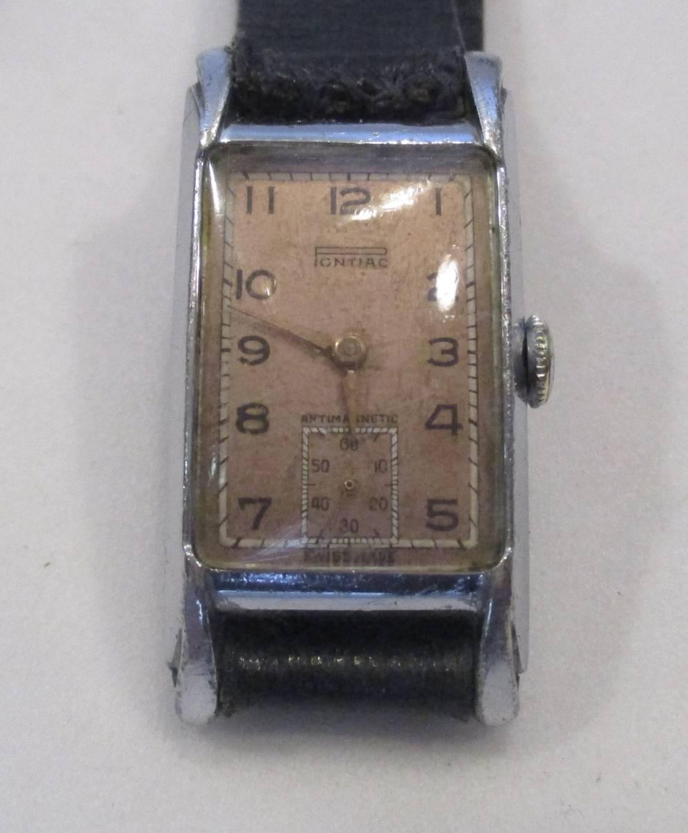 ☆ クロムケース Pontiac 30年代年代 紳士用腕時計_画像1