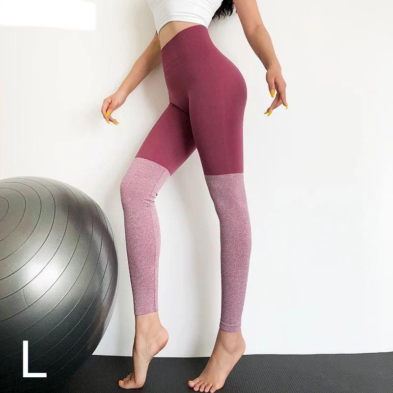 レッグウォーマースタイル*バイカラーレギンスLサイズ ピンク ヨガパンツ ヨガウェア ピラティス トレーニング ランニング ズンバ ジム