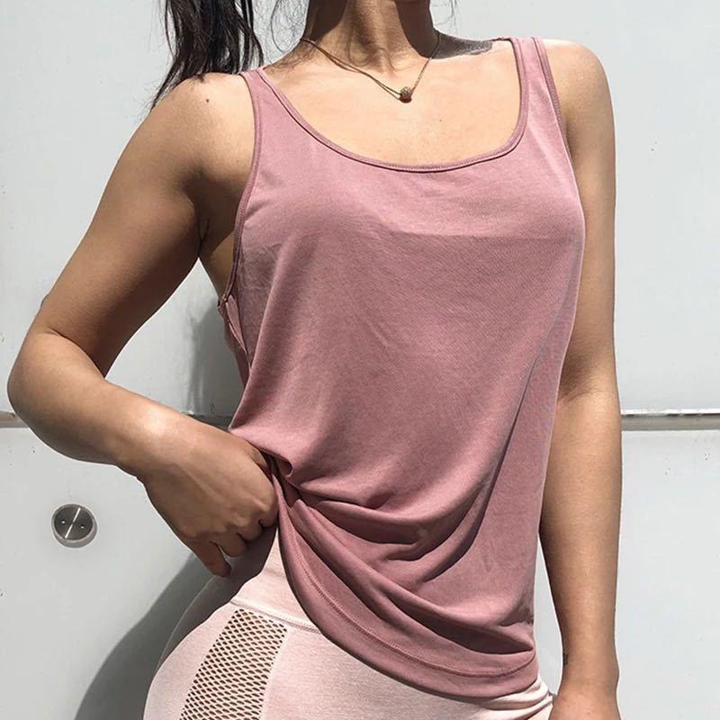 ゆるフィット体型カバー印象的な背中タンクトップMサイズ ピンク ヨガタンク ヨガウェア トップス バレエ トレーニング ダンス ズンバ ジム