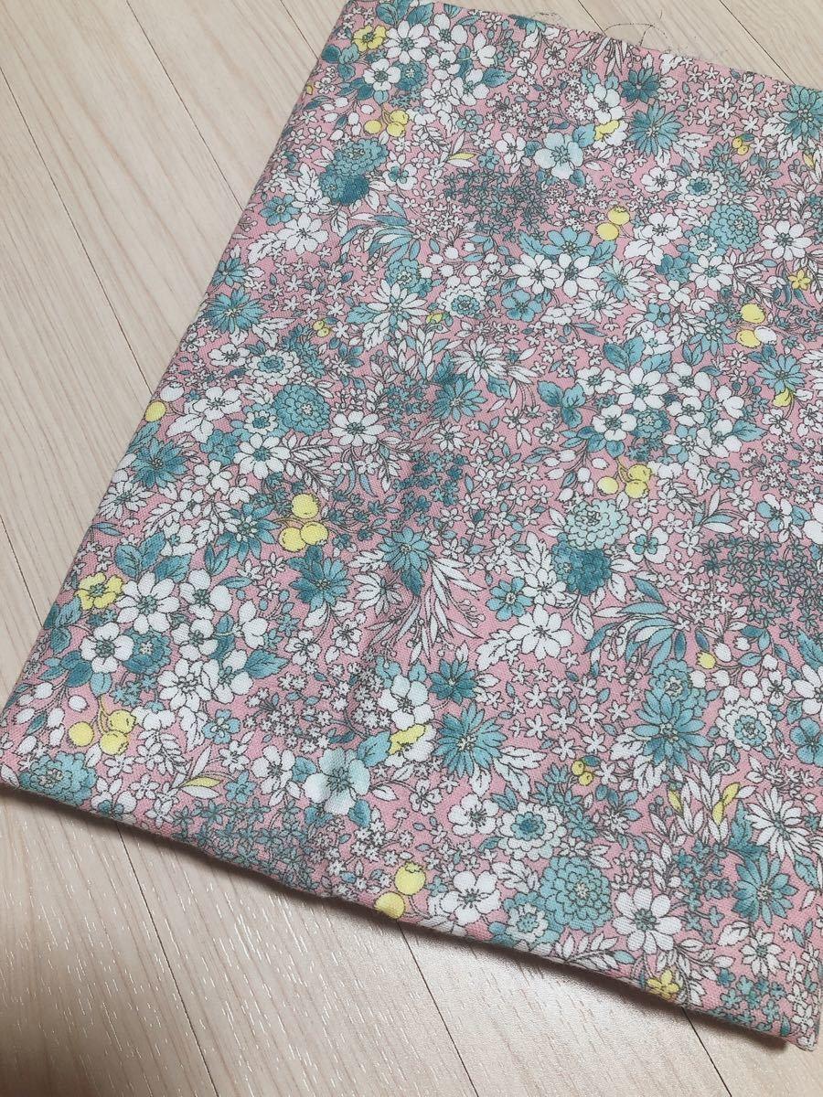 ダブルガーゼ生地 綿100%  花柄ピンク 110cm×85cm  ハギレ 手芸用品 ハンドメイド 材料 柄