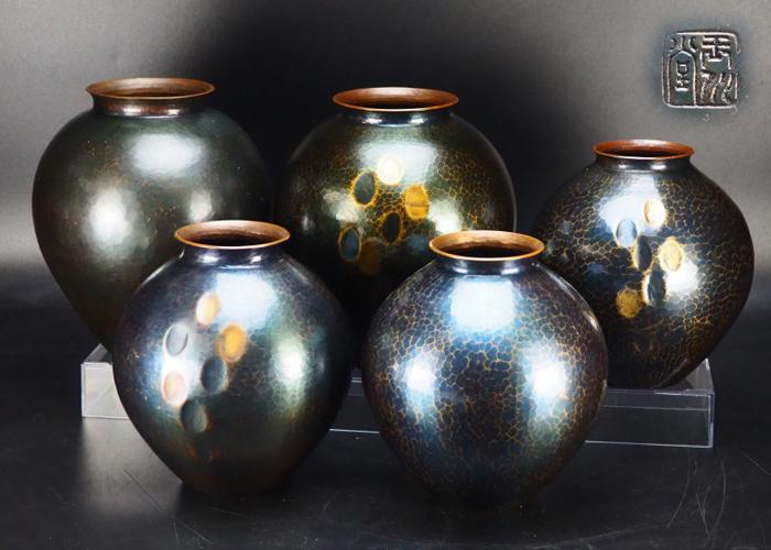 【治】玉川堂造 鎚起銅製 鎚目紋花瓶五点一括☆まとめて 花器 花入 TU79
