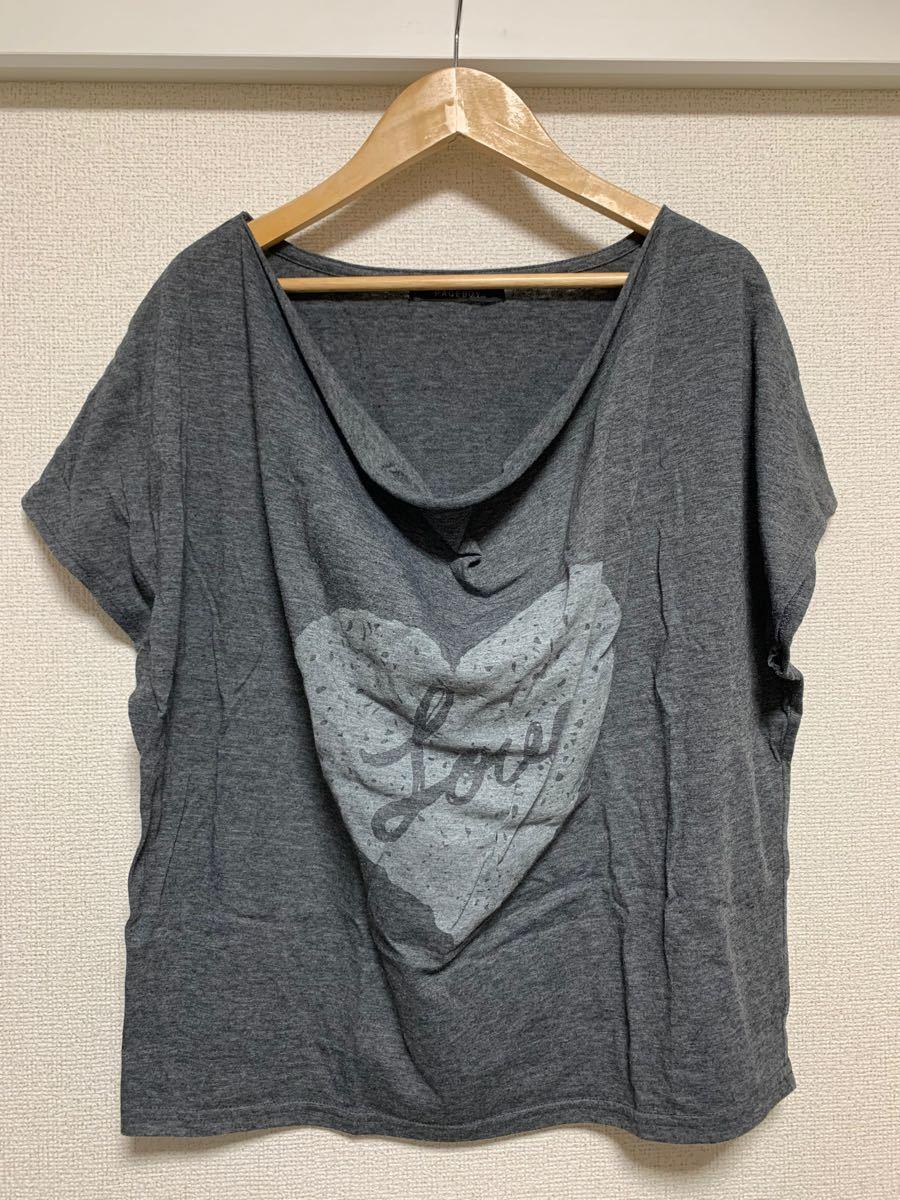 PAGEBOY ページボーイ Tシャツ カットソー 半袖 グレー ハート ロゴ Mサイズ