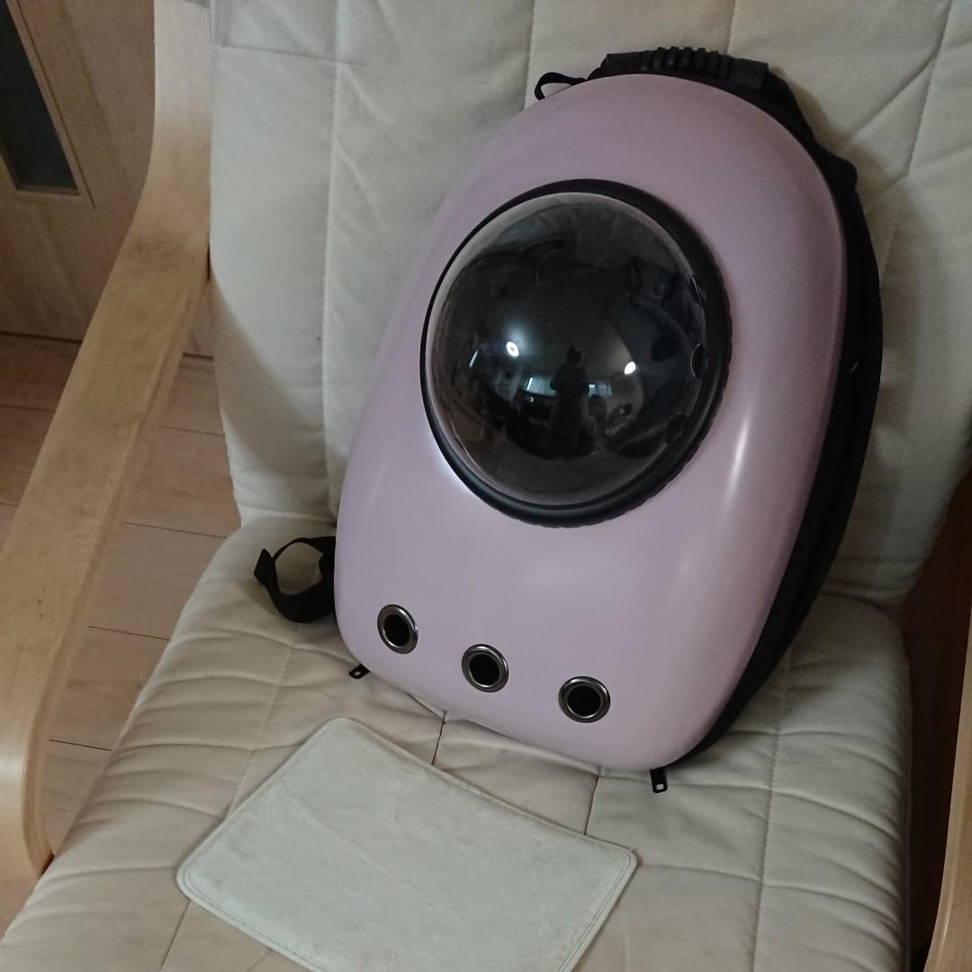 キャリー バッグ カプセル 窓付きメッシュ ピンク  小型犬用 猫用 ペット用品 リュックサック かわいい