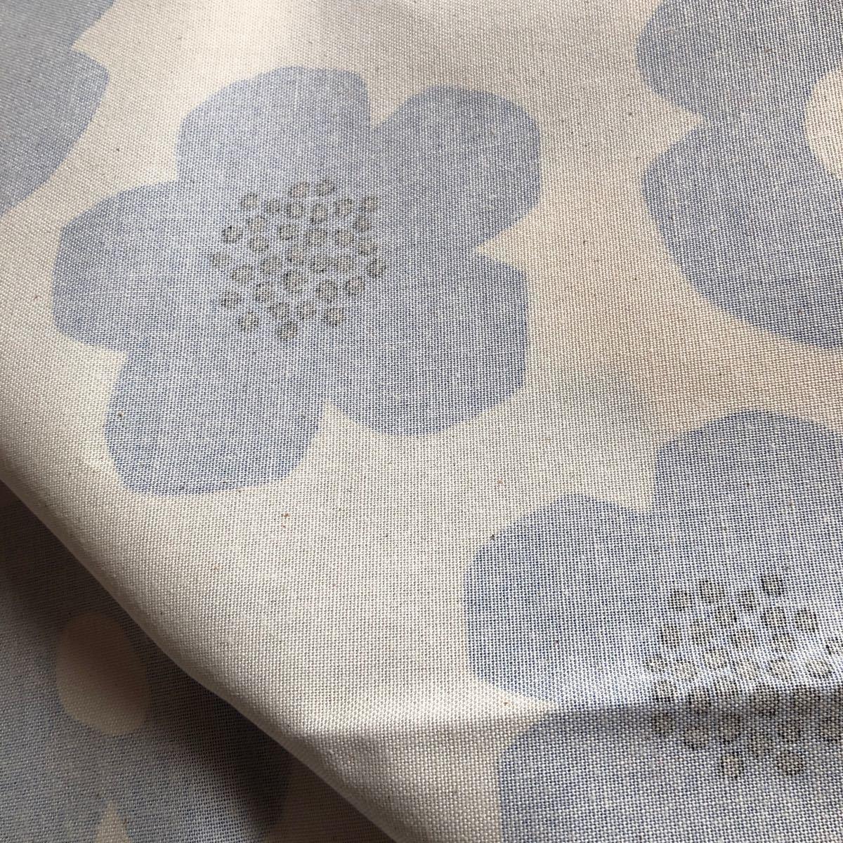 綿麻キャンバス生地 フラワーブルー KOKKA 110×100cm