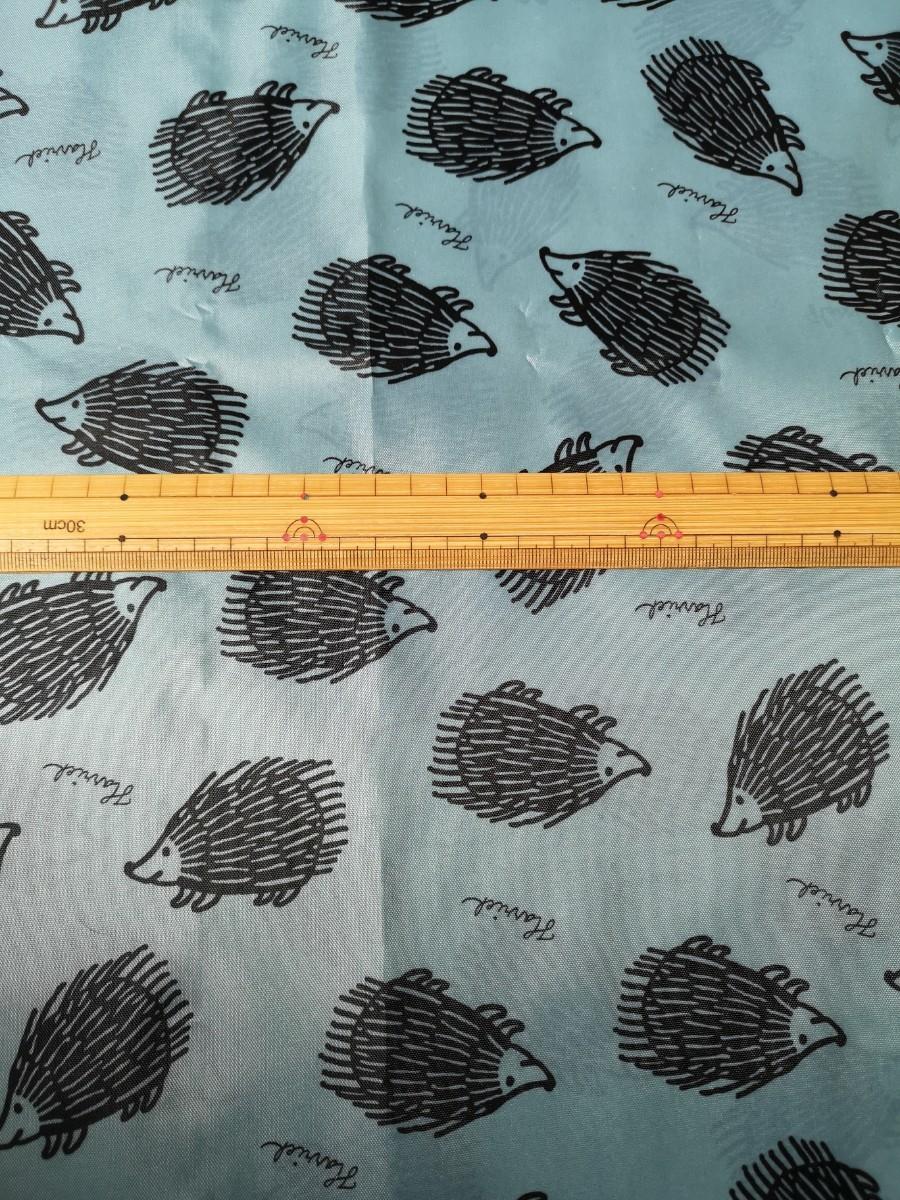 リサラーソン ハリネズミ  ポリエステル 100% 生地 タグ付き 水色 110×50