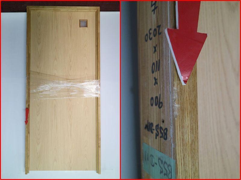 P5B-D11 ◇ 900*2030 ◇ 右吊ドア ◇ 錠付 ◇ 枠付 ◇ ガラス付 ◇ クローザー付 ◇ 中古品_ドア枠に傷がございます。
