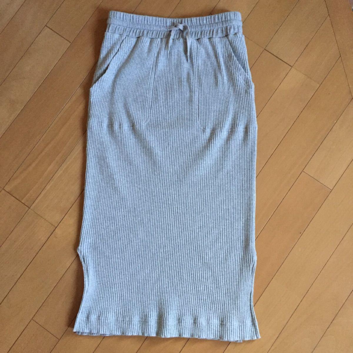 タイトスカート リブ ロングスカート ニットタイトスカート バックナンバー グレー