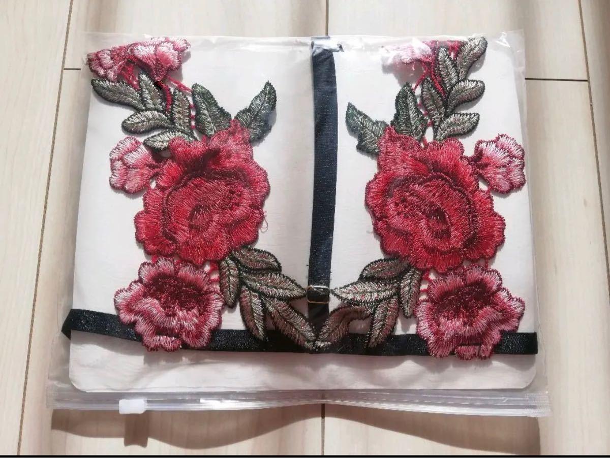 セクシーランジェリー三点式 豪華バラ花柄 花柄 薔薇 勝負下着 エロ下着 セクシー 刺繍 オープンクロッチ 花紋 ショーツセット