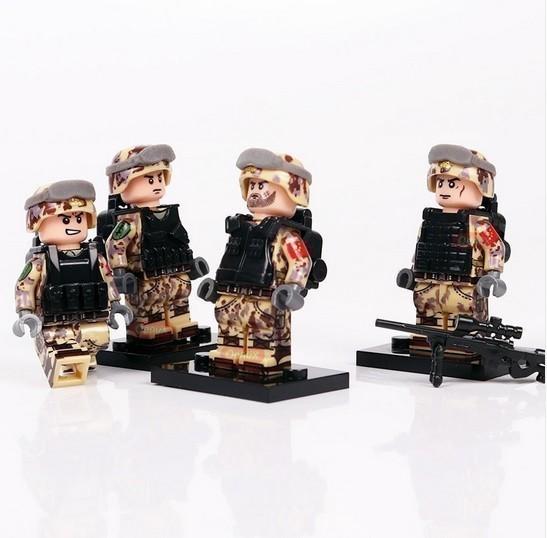 【厳選価格】1円スタート LEGO レゴ 互換 ソルジャー 迷彩色 特殊部隊 砂漠戦 カスタム ミニフィグ 6体セット 大量武器・装備・兵器付き_画像2