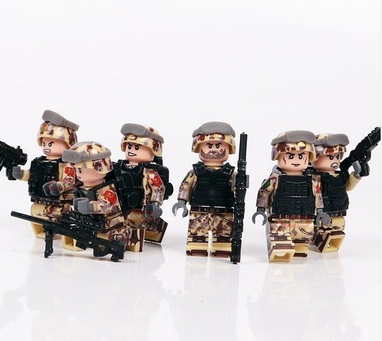 【厳選価格】1円スタート LEGO レゴ 互換 ソルジャー 迷彩色 特殊部隊 砂漠戦 カスタム ミニフィグ 6体セット 大量武器・装備・兵器付き_画像4