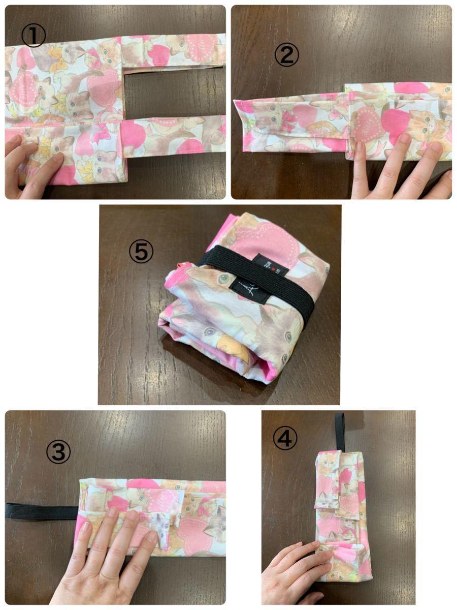 ハンドメイド☆エコバッグ・コンビニサイズ/布タイプ/猫柄・リボンcat