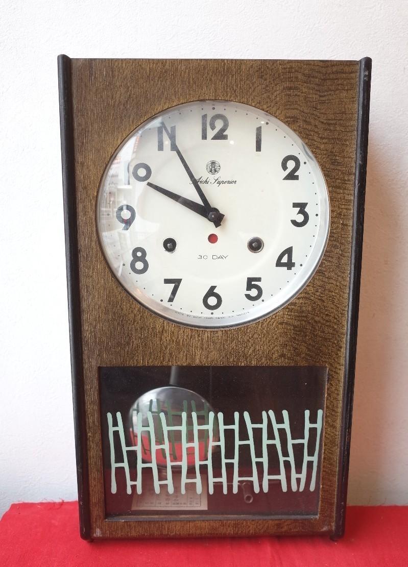 ○愛知時計 手巻き アンティーク振り子時計 日本製 可愛い木製デザイン 稼動品 古道具のgplus広島 2103k_画像2