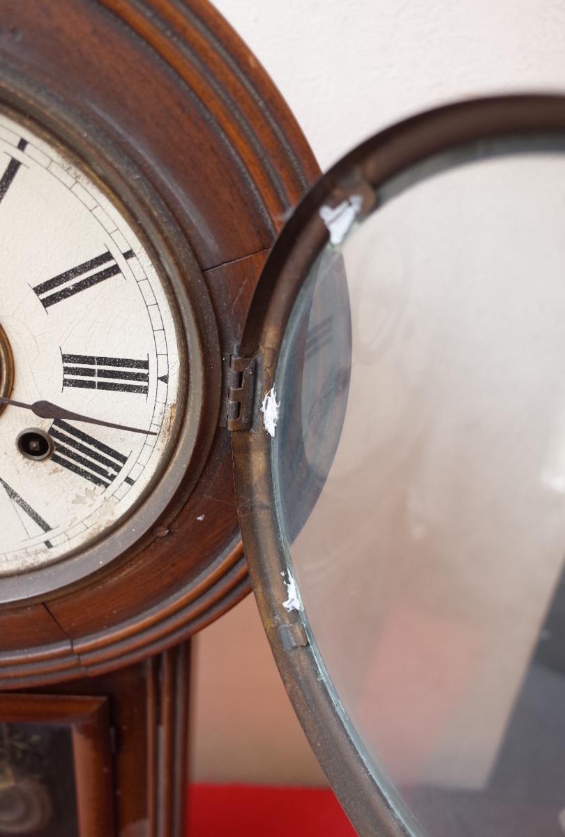 ○手巻き アンティーク振り子時計 日本製 可愛い木製デザイン  古道具のgplus広島 2103k_画像7