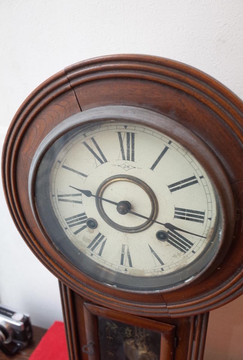 ○手巻き アンティーク振り子時計 日本製 可愛い木製デザイン  古道具のgplus広島 2103k_画像4