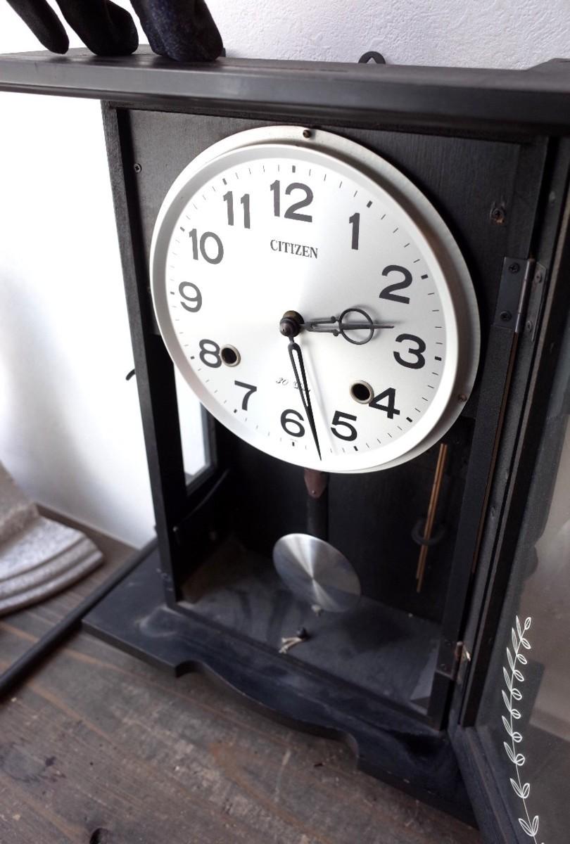 ○シチズン スケルトン 手巻き アンティーク振り子時計 日本製 可愛い木製デザイン 古道具のgplus広島 2103k_画像6