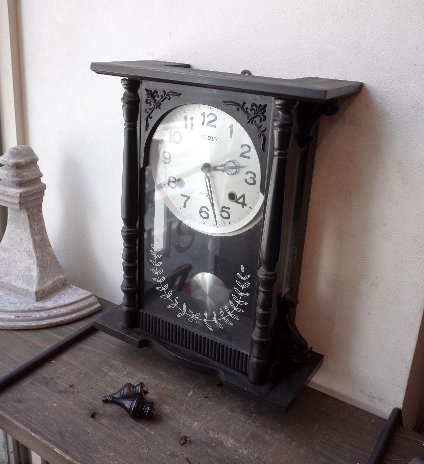 ○シチズン スケルトン 手巻き アンティーク振り子時計 日本製 可愛い木製デザイン 古道具のgplus広島 2103k_画像3