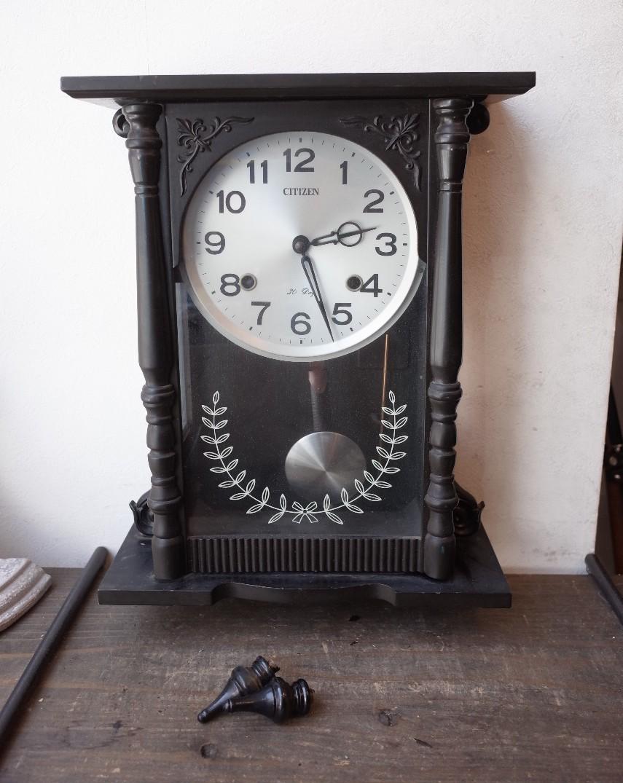 ○シチズン スケルトン 手巻き アンティーク振り子時計 日本製 可愛い木製デザイン 古道具のgplus広島 2103k_画像1