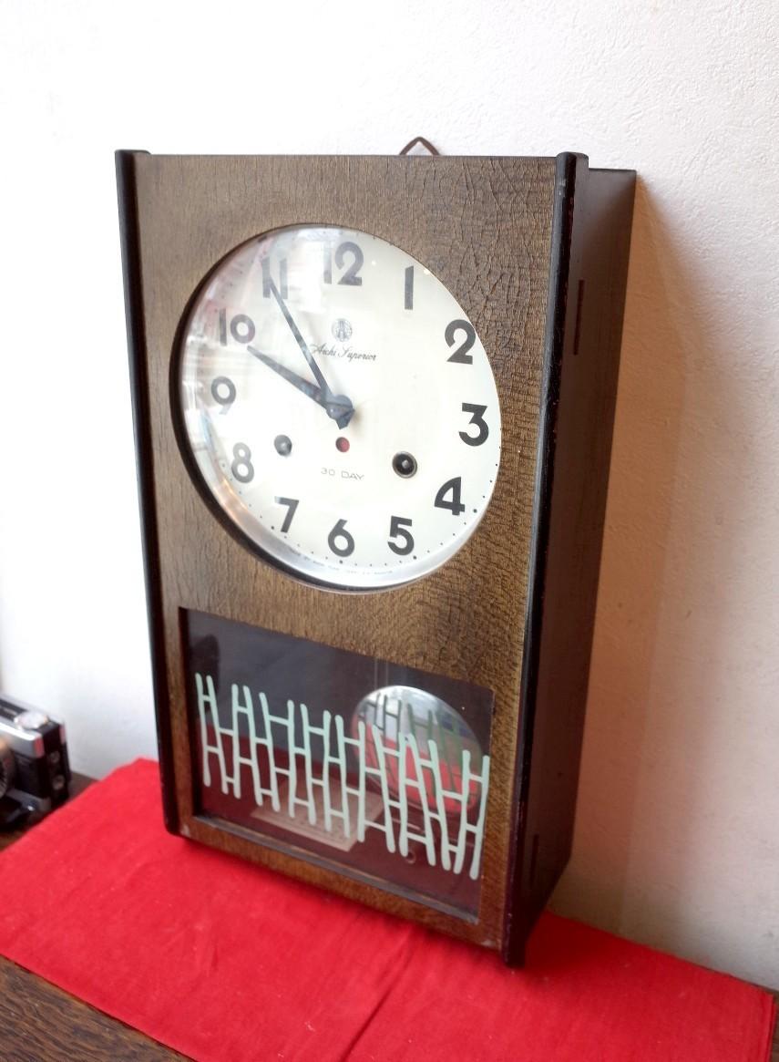 ○愛知時計 手巻き アンティーク振り子時計 日本製 可愛い木製デザイン 稼動品 古道具のgplus広島 2103k_画像1