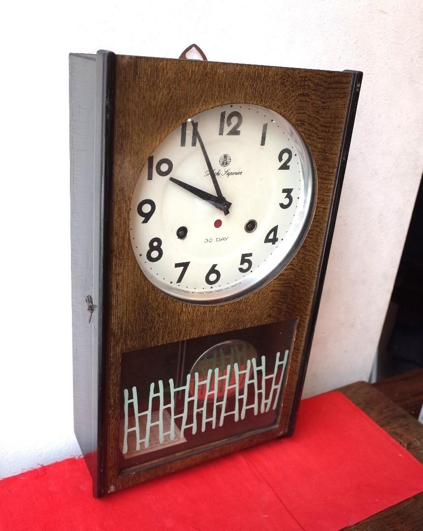 ○愛知時計 手巻き アンティーク振り子時計 日本製 可愛い木製デザイン 稼動品 古道具のgplus広島 2103k_画像3