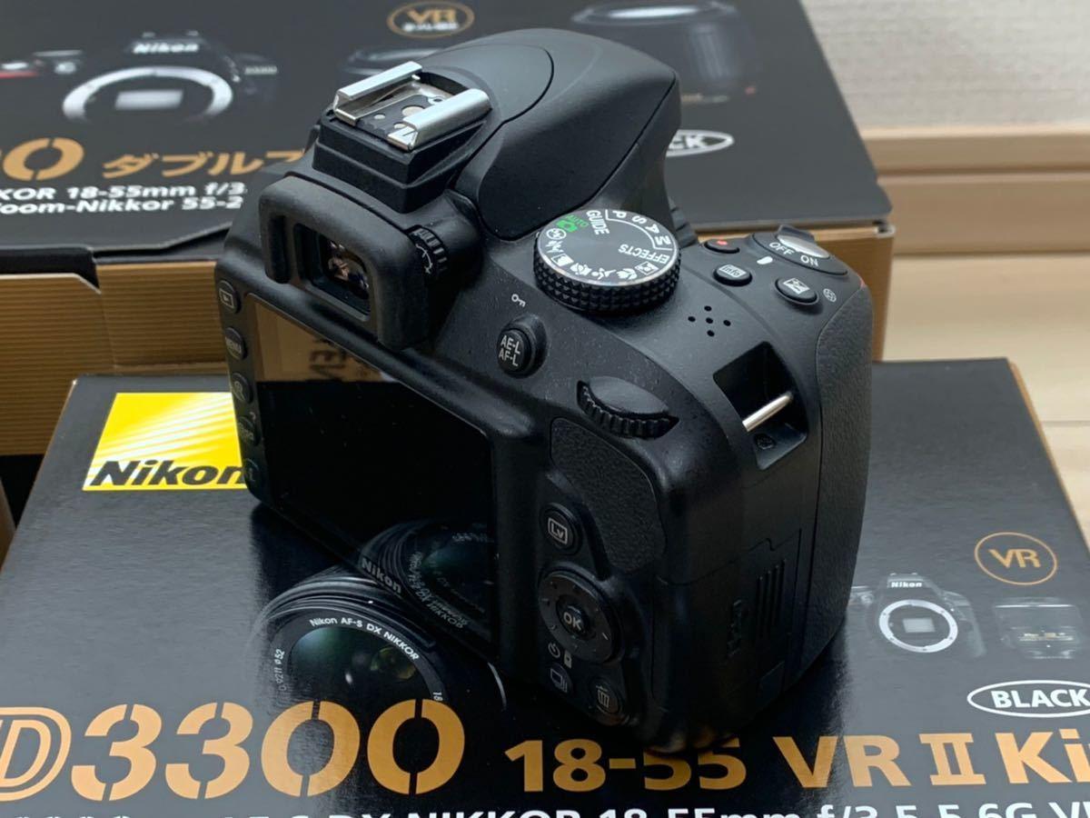 極美品 ニコン Nikon D3300 ダブルズームキット デジタル一眼レフカメラ 18-55mm 55-200mm NIKKOR レンズ AF-S DX 作動確認済み