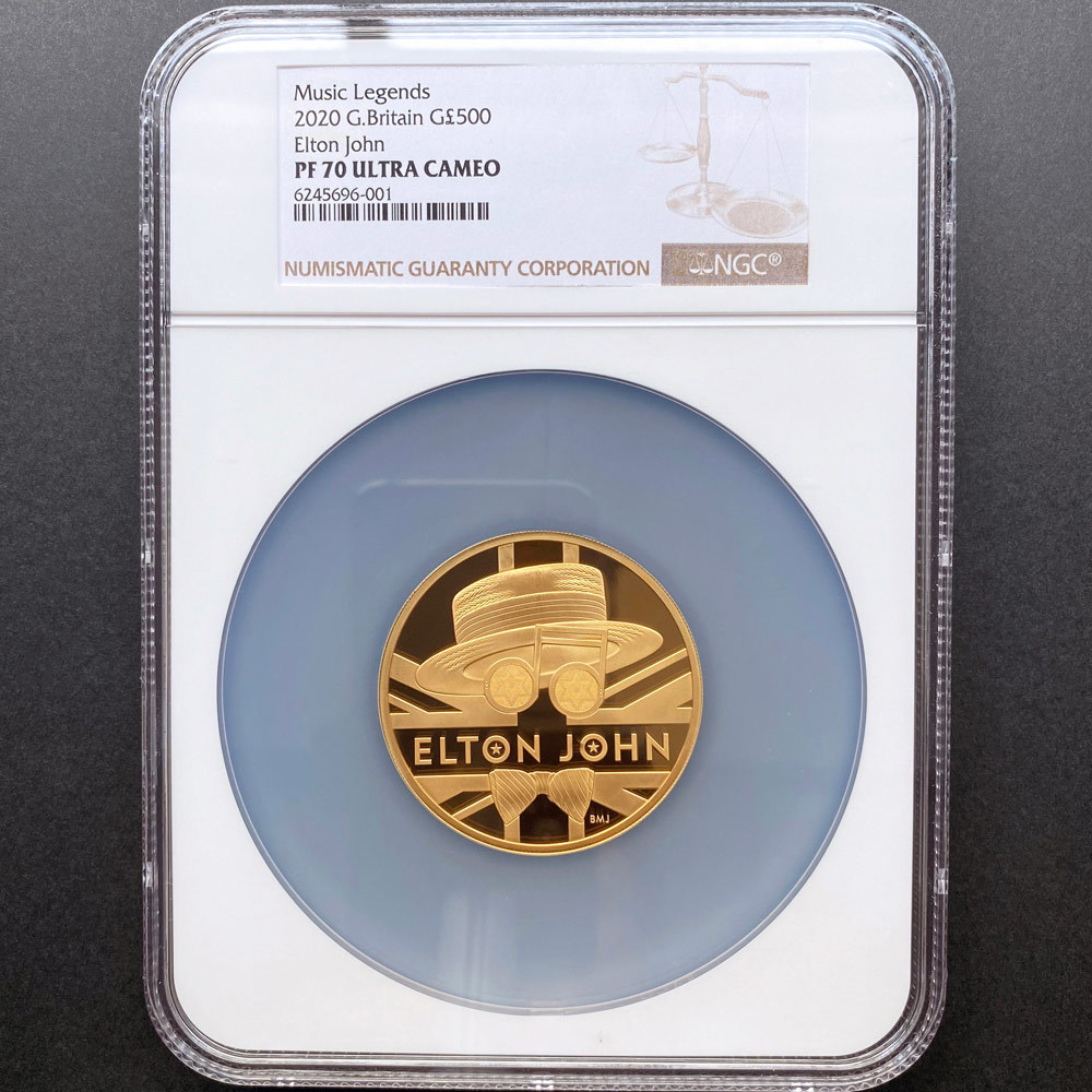 2020 英国 伝説のミュージシャン エルトン・ジョン 500ポンド 金貨 5オンス プルーフ NGC PF 70 UC 最高鑑定 完全未使用品 元箱付_画像1