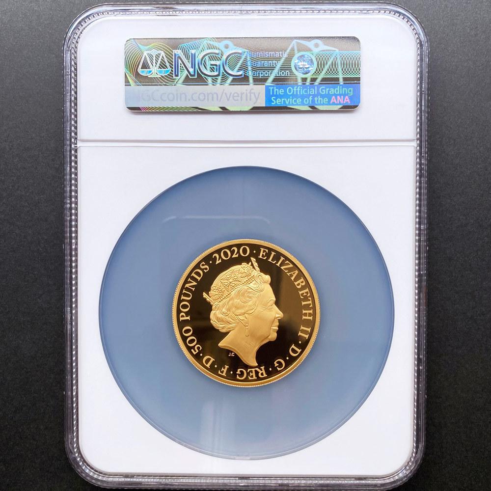 2020 英国 伝説のミュージシャン エルトン・ジョン 500ポンド 金貨 5オンス プルーフ NGC PF 70 UC 最高鑑定 完全未使用品 元箱付_画像2