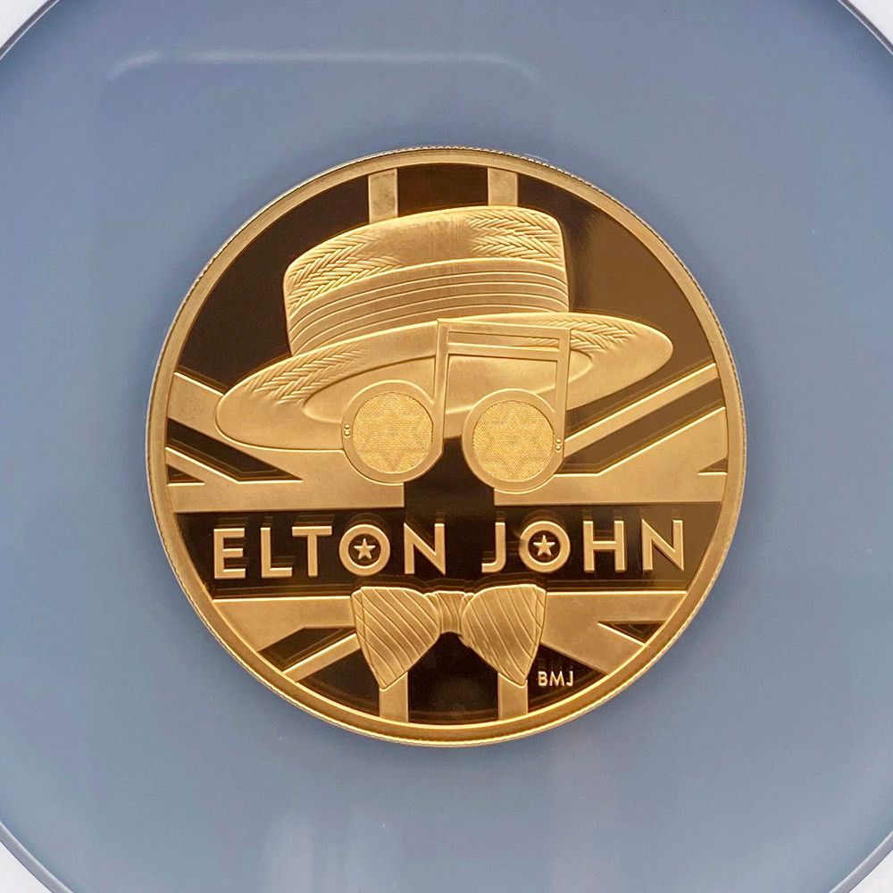 2020 英国 伝説のミュージシャン エルトン・ジョン 500ポンド 金貨 5オンス プルーフ NGC PF 70 UC 最高鑑定 完全未使用品 元箱付_画像3