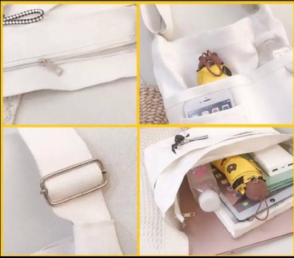 トートバッグ ショルダーバッグ レディースバッグ キャンバスバッグ ホワイト