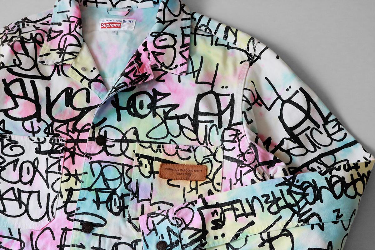 Supreme × COMME des GARCONS SHIRT ◆ Printed Canvas Chore Coat タイダイリメイク L ジャケット カバーオール コムデギャルソン ◆T44