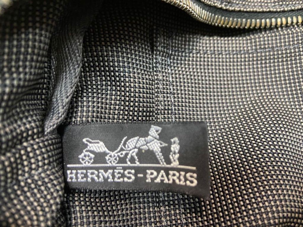 HERMES 極美品♪ エルメス エールライン MM 鍵付 キャンバス シルバー金具 トートバッグ 正規品 ハンドバッグ 手提げかばん グレー_画像3