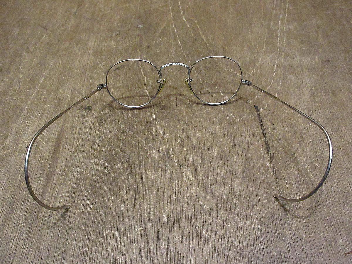 ビンテージ30's●ケース付きB&Lキッズサイドマウント彫金ボストン眼鏡●210314n5-eygls 1930s子ども用ボシュロム_画像4