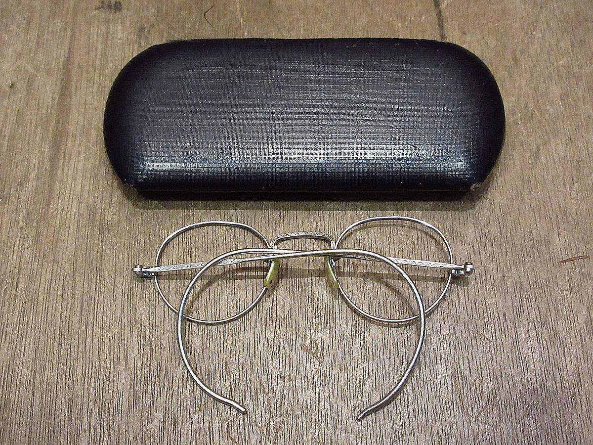 ビンテージ30's●ケース付きB&Lキッズサイドマウント彫金ボストン眼鏡●210314n5-eygls 1930s子ども用ボシュロム_画像2