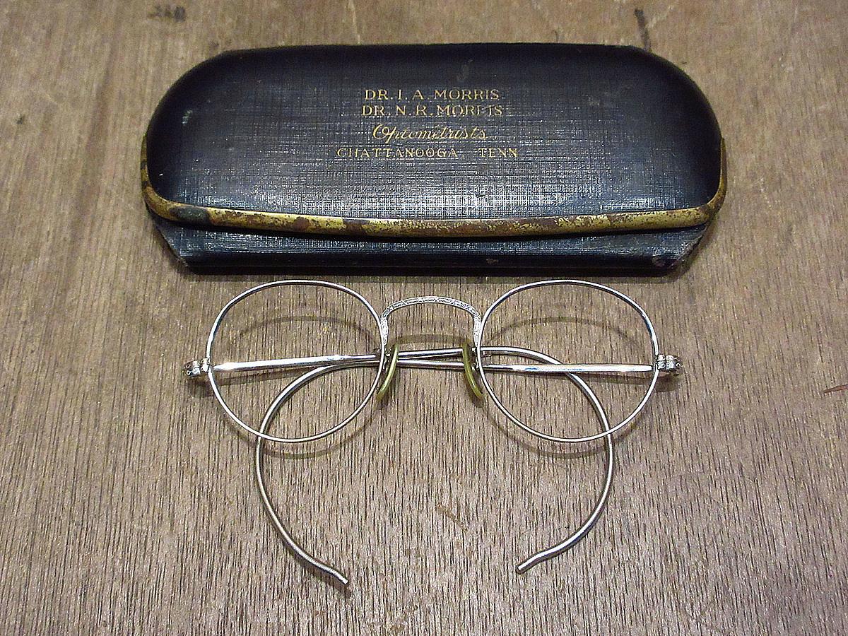 ビンテージ30's●ケース付きB&Lキッズサイドマウント彫金ボストン眼鏡●210314n5-eygls 1930s子ども用ボシュロム_画像1