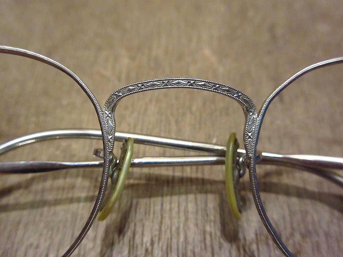 ビンテージ30's●ケース付きB&Lキッズサイドマウント彫金ボストン眼鏡●210314n5-eygls 1930s子ども用ボシュロム_画像10