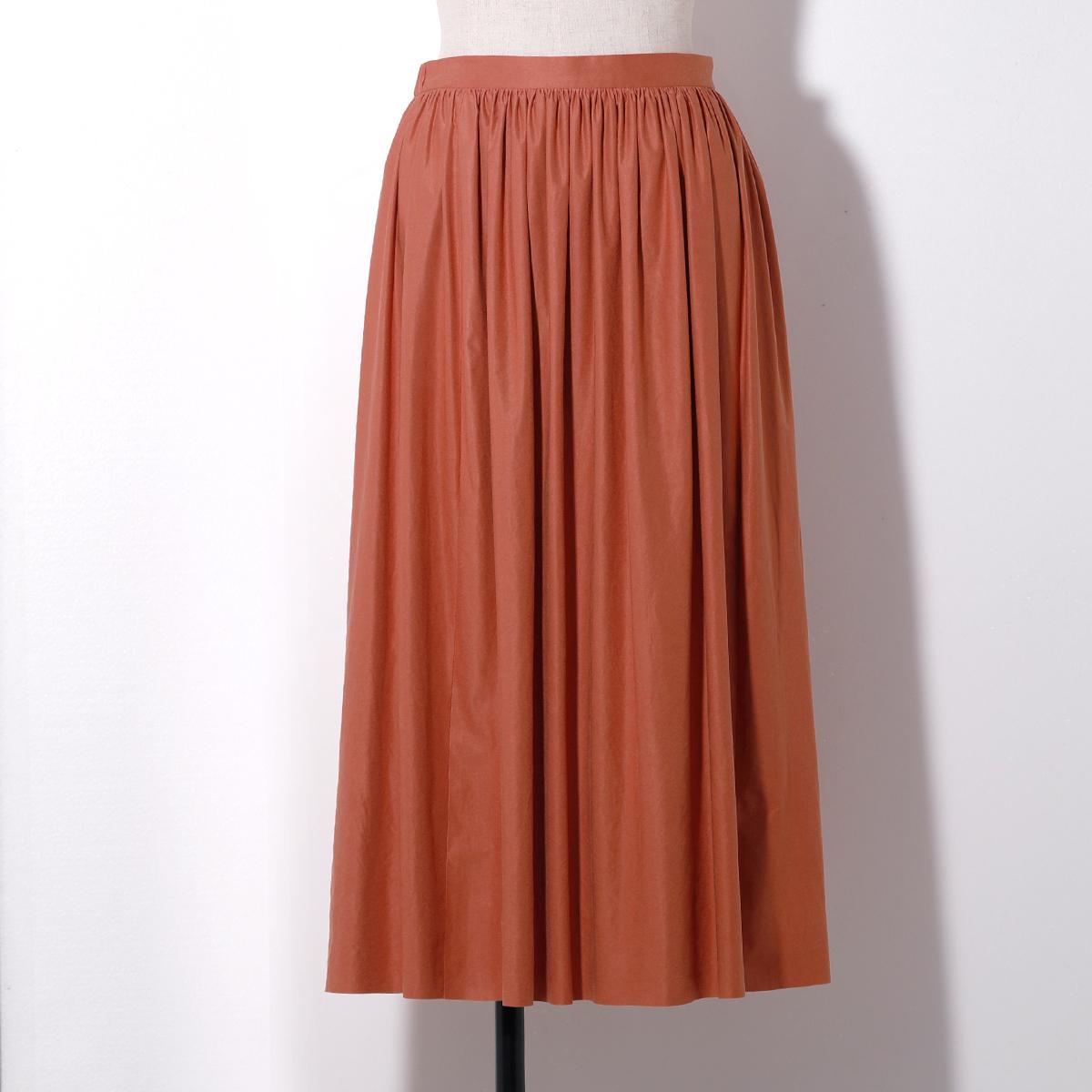【STYLE DELI】【Made in JAPAN】エアリースエードギャザースカート/オレンジ?Sサイズ