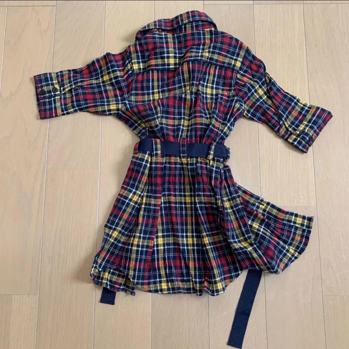 80cm コムサイズム ワンピース シャツワンピース チェックシャツ チェック柄 女の子