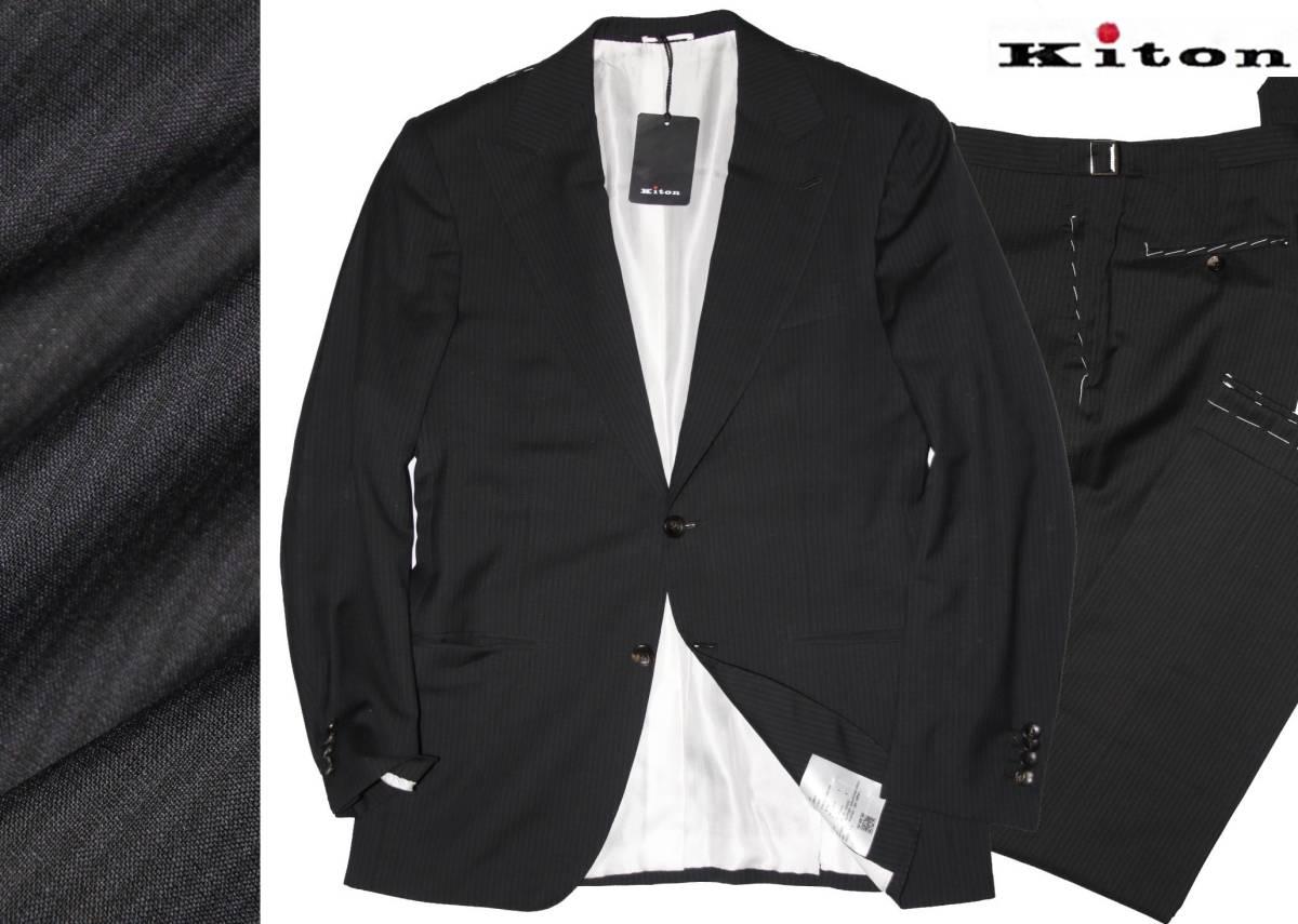 ●74万◆Kiton キートン【バージンウール】手縫い スーツ◆シャドーストライプ◇黒◆46
