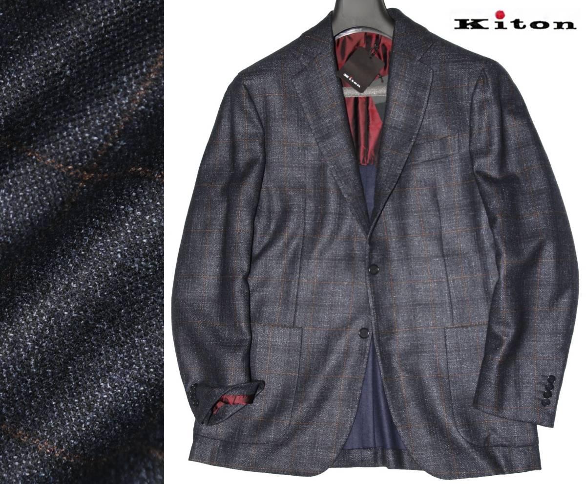 ●125万◆Kiton キートン【超VIP】神の繊維 VICUNA◆濃紺 ウインドウペンチェック◇ジャケット◆50