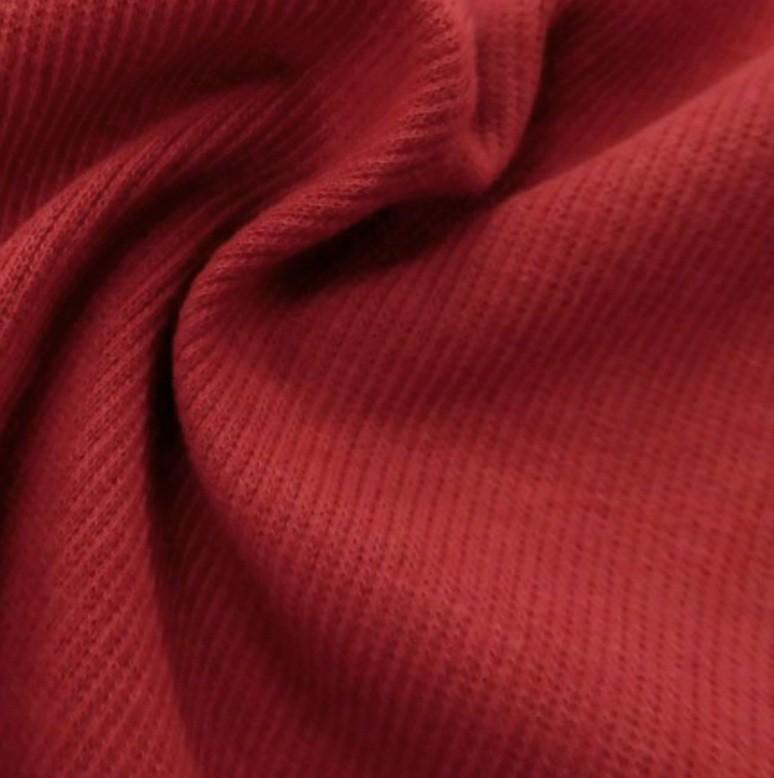 国産スパンテレコ生地 リブニット生地 1mカットクロス 100㎝ 暗い赤 はぎれ生地 犬服 大人服 トレーナー袖口等