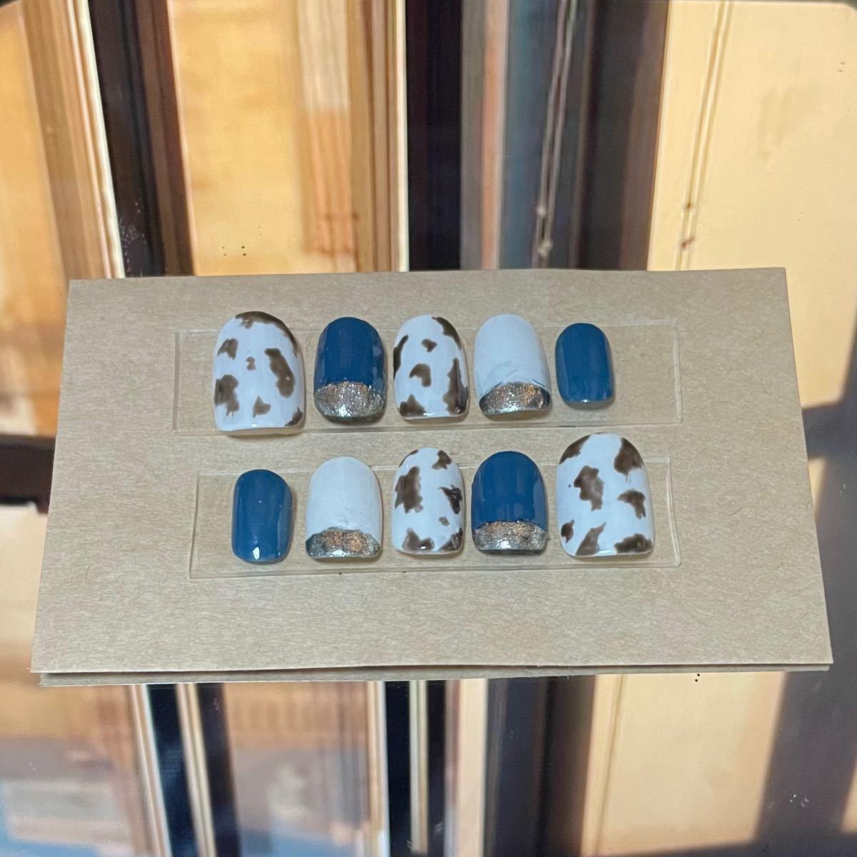 付け爪 ショート丈 ネイルアート ネイルチップ ジェルネイル ボタニカル ブルー ダルメシアン 牛柄 シルバー キラキラ ラメ