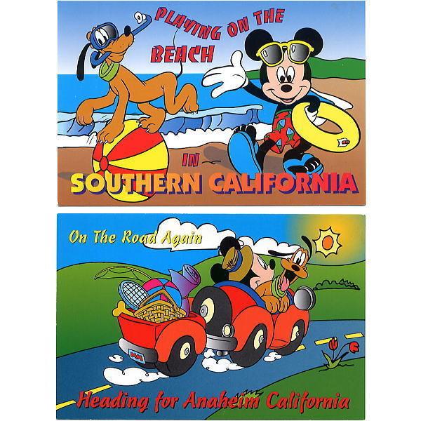 ディズニー ミッキー&プルート ポストカード2枚セット カリフォルニア USA製 ビーチ アナハイムへ