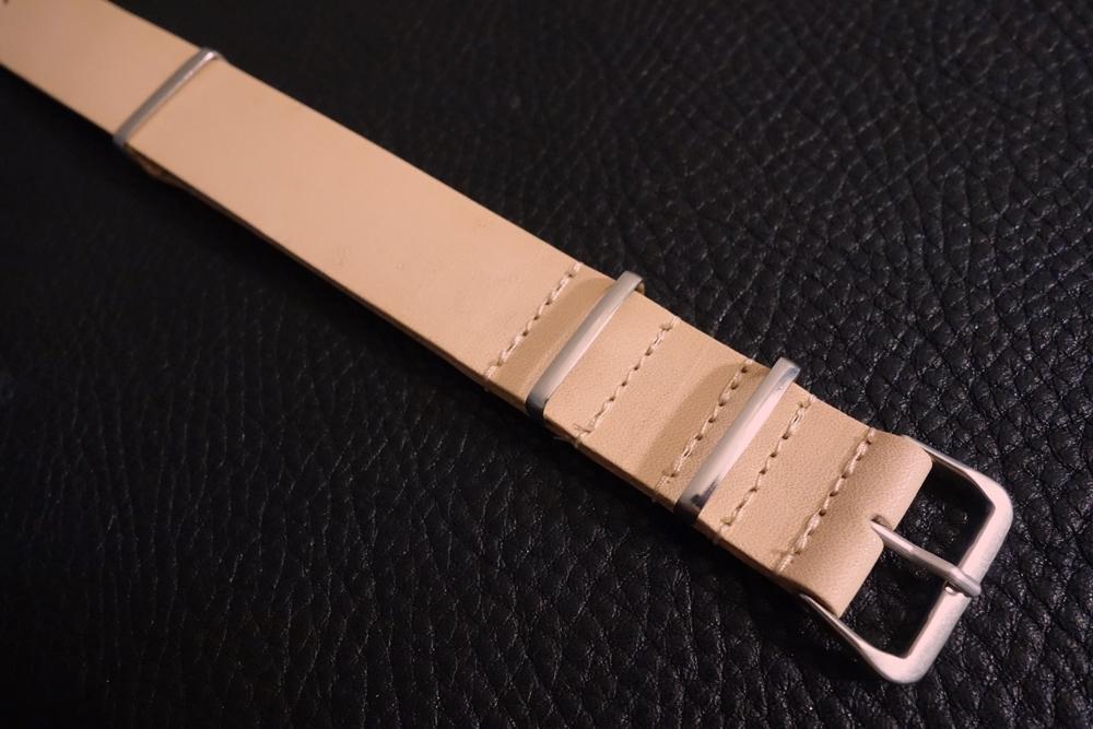 ◆ヌメ革 NATO G10ストラップ◆国産ヌメ革 18mm ナチュラル 日本製 本牛革 ミリタリー ブレスレット 腕時計ベルト_ステンレス製バックル、ループパーツ