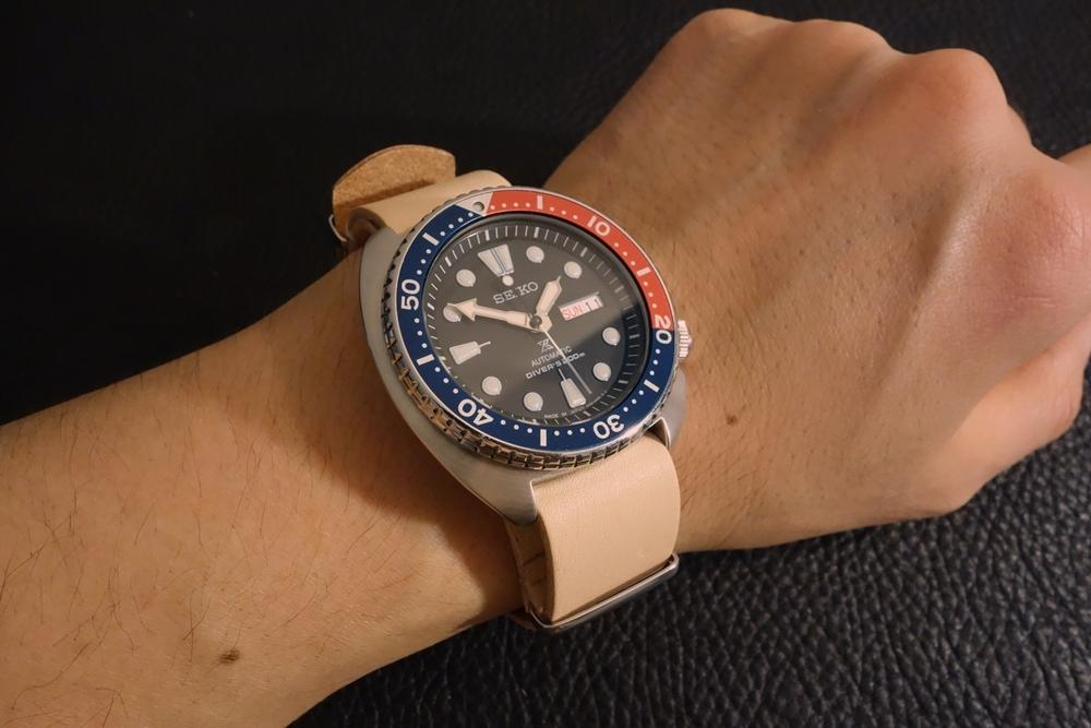 ◆ヌメ革 NATO G10ストラップ◆国産ヌメ革 18mm ナチュラル 日本製 本牛革 ミリタリー ブレスレット 腕時計ベルト_使用例。時計は商品には含まれません。