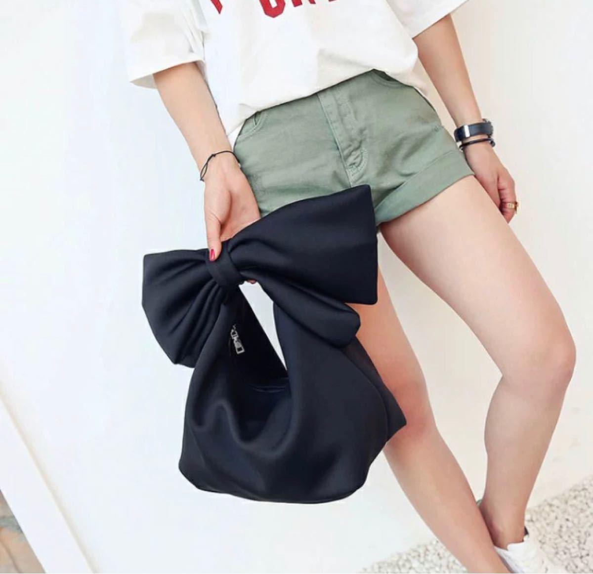 バッグ ハンドバッグ リボン トートバッグ 韓国 冬 春 ショルダーバッグ 黒