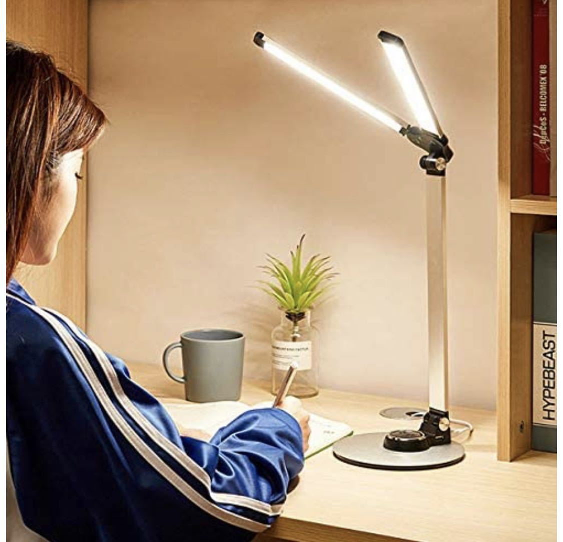 1円 訳あり デスクライト 創優会 LED 目に優しい 電気スタンド USBポート メモリー タッチパネル 学習机 無段階調光 3段階調色 読書 ピンク_画像7