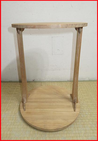 ◆ 茶道具 棚 小棚 【 利休形 桐木地 丸卓 】紙箱_画像1