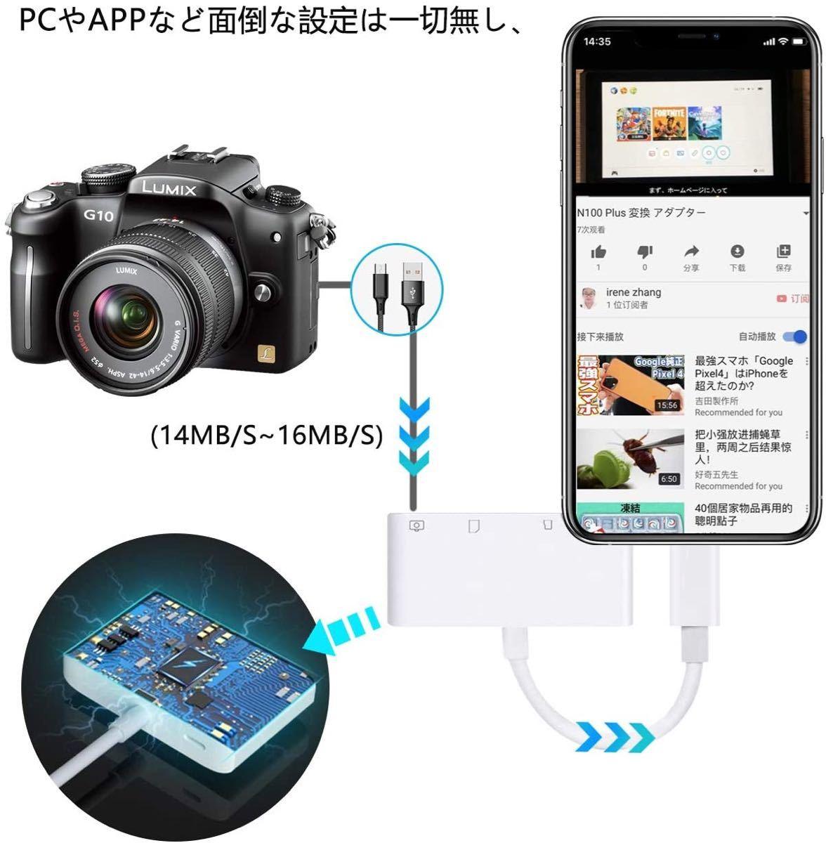 iPhone SD カードリーダー 最新 iOS14 双方向 データ転送 充電 SDカードリーダー iPhone iPad