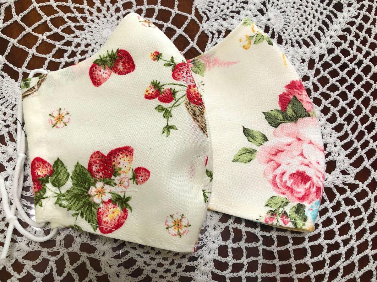 立体インナー いちご柄と薔薇柄 裏は高級ダブルガーゼ かわいい ハンドメイド 2枚送料込み